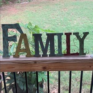 """New Distressed Metal """"Family"""" sign"""